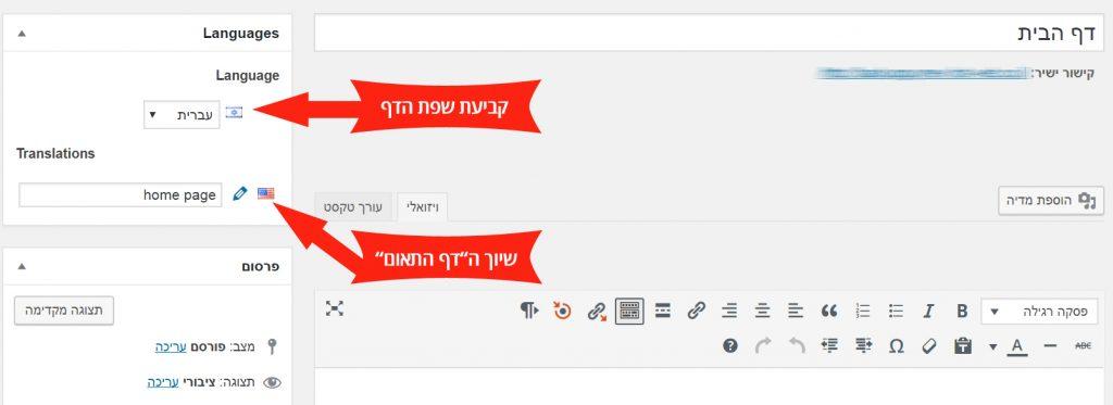 שינוי שפה באתר